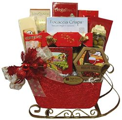 Delight Expressions Tis the Season Christmas Gourmet Food Gift Basket Sleigh – A Holiday G ...