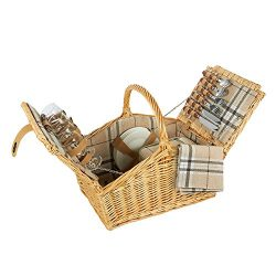 Lined Wicker Storage Basket With Picnic Supplies – Large 4 Person Lined Wicker Picnic Supp ...