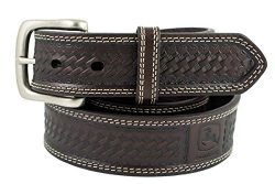 John Deere Mens Basketweave Design Casual Belt, Chocolate, 36