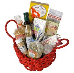 """""""The New Englander"""" Lobster Rope Gift Basket Filled with New England Artisan Foods"""