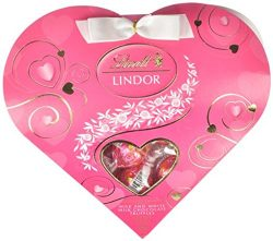 Lindt Mother's Day Lindor Truffles Gift Box, Milk With White Mini Heart, 3.4 Ounce