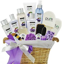PURE Spa Basket! Lavender Coconut Extra Large Spa Gift Basket. Pampering Holiday Gifts for Women!