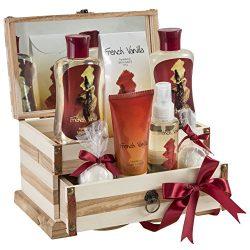 French Vanilla Bath Gift Set in 190ml shower gel,190ml bubble bath, 120g bath salts, 100ml body  ...