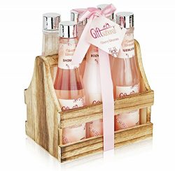 Spa Gift Basket with Heavenly Cherry Blossom Fragrance, Wooden Cabinet with 6 Bottles, Best Wedd ...