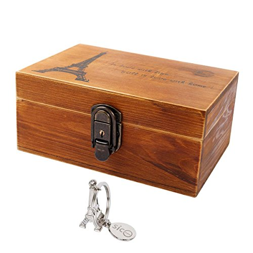 Sicohome Decorative Boxes Wood Eiffel Tower Storage Trunks For Gifts Storage And Home Decor