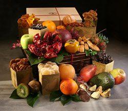 Organic Keepsake Fruit & Treat Gift Basket with14 Organic Seasonal Fresh Fruit, Keepsake Woo ...
