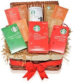 Starbucks Christmas Hot Cocoa Variety Pack Decorative Gift Basket – 7 Different Holiday Fl ...
