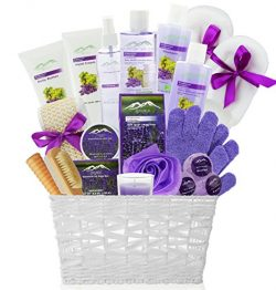Deluxe XL Gourmet Gift Basket with Essential Oils. 20-Piece Luxury Spa Gift Set with Bath Bombs, ...