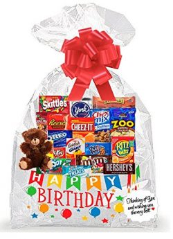 Happy Birthday Thinking Of You Cookies, Candy & More Care Package Snack Gift Box Bundle Set