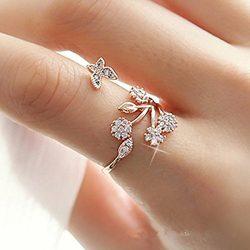 Rurah Cute Butterfly Flower Open Ring for Women Adjustable Size,Rose gold