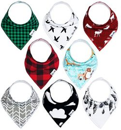 Baby Bandana Drool Bibs Gift Set For Boys And Girls, Unisex 8 Pack Organic Cotton With Snaps  ...