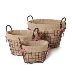 Adeco Oval Rustic Old World-Inspired Iron Baskets Handles Burlap Lining Home Decor (Set of 3), D ...