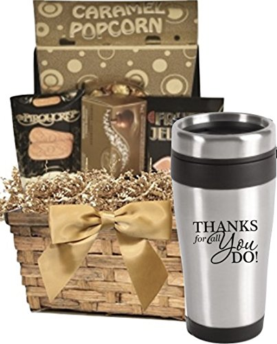 Thank You Gift Basket of Snacks & Stainless Tumbler/Stainless Steel Thank You Tumbler with S ...