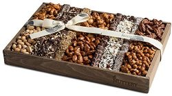 The Nuttery Fresh Chocolate and Roasted Nuts Gift Tray-Reusable Medium Wooden Box-Kosher Gourmet ...