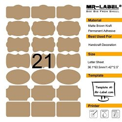 Mr-Label 7 Types of Fancy Shape Brown Kraft Labels on Letter Sheet – Self Adhesive Sticker ...