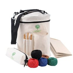 Knitting Bag Yarn Storage Tote Organizer for Carrying Skeins, Knitting Needles and Crochet Hooks ...