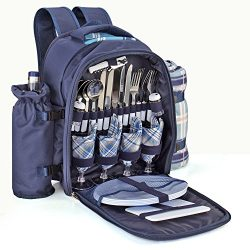 Flexzion Picnic Backpack Kit – Set for 4 Person With Cooler Compartment, Detachable Bottle ...