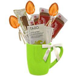 Cottage Lane Hot Tea Mug Boxed Set Featuring Tazo Herbal Tea Bags, Honey Spoon Stirrers, Nonni&# ...