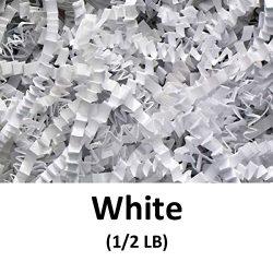 Crinkle Cut Paper Shred Filler (1/2 LB) for Gift Wrapping & Basket Filling – White | M ...