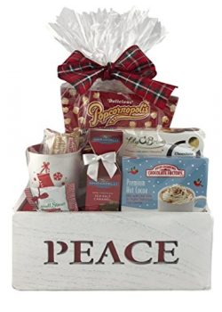 Holiday Christmas Gift Basket Wooden Box Premium Assorted Snacks Peppermint Chocolate Popcorn Co ...