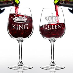 King and Queen Wine Glass Gift Set – 12.75 oz ea.- Cool Present Idea for Bridal Shower, En ...