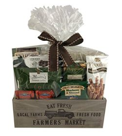 Wine Country Snacks Gift Wooden Crate with Popcorn, Chocolate, Caramels, Cookies Crackers Nuts C ...