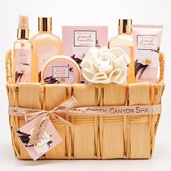 Green Canyon Spa Gift Basket Set in French Vanilla – Premium 8 pieces Spa Basket Holiday G ...