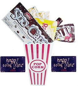 Happy New Year! Fun Movie Night Gift Basket ~ Includes Butter Popcorn, Concession Stand Candy an ...