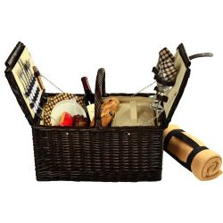 Picnic at Ascot Surrey Willow Picnic Basket with Service for 2 with Blanket – London Plaid