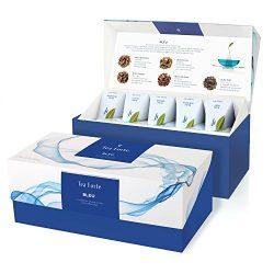 Tea Forté BLEU Presentation Box Tea Sampler, Assorted Variety Tea Box, 20 Handcrafted Pyramid Te ...