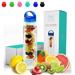Savvy Infusion Water Bottle – 24 or 32 Ounce – Featuring Unique Leak-Proof Sealed Ca ...