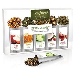 Tea Forté SKIN-SMART Single Steeps Loose Leaf Tea Sampler, 15 Single Serve Pouches – Antio ...