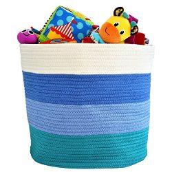 "OrganizerLogic Storage Baskets for Your Nursery Décor – Large 15"" x 15"" x 13"" Cotton Rope  ..."