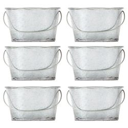 Hosley's Set of 6 Mini Oval Tub Galvanized Planter – 3.8″ Long. Ideal for DIY  ...