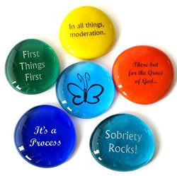 Recovery Stones, 6 Daily Reminders for Encouragement in Sobriety on Glass Stones. Perfect for 12 ...