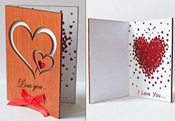 Handmade Real Wood Greeting Love Card with Hearts for Wedding Dating Anniversaries, Special Occa ...