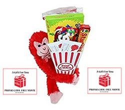 Share the Love Night Gift Basket ~ Includes Movie Popcorn, Candy, Stuffed Hanging Monkey and 2 F ...