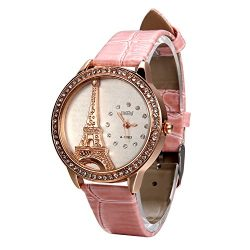 Avaner Girls Women Luxury Bling Rhinestone Accented Eiffel Tower Pink Leather Strap Watch Analog ...