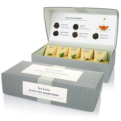 Tea Forté Petite Presentation Box Sampler with 10 Handcrafted Pyramid Tea Infusers – Black ...