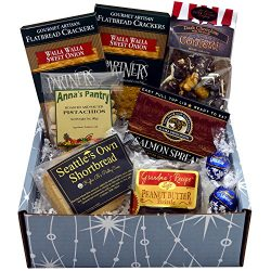 Starry Night Gift Box featuring Smoked Salmon, Crackers, Pistachios, Shortbread, Chocolate Peanu ...