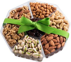 Nut Cravings Holiday Christmas Extra-Large Gourmet Food Nuts Gift Basket, 7-Section Holiday or A ...