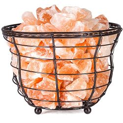 """HemingWeigh Himalayan Salt Chip Lamp In Metal Basket Bowl 8×7.15"""" Electric Wire and Bulb In ..."""