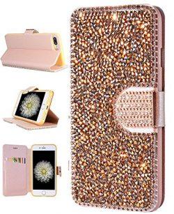 iPhone 8 Plus Case, iPhone 7 Plus Wallet Case, FLYEE Bling Handcraft Luxury Rhinestone Flip Case ...