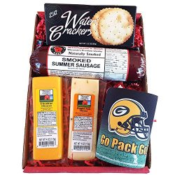 Packers Snacker Gift Basket – features Smoked Summer Sausages, 100% Wisconsin Cheeses, Cra ...