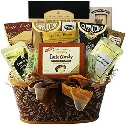 Crazy for Coffee Gourmet Food and Snacks Gift Basket (Candy Option)