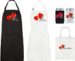Mr and Mrs Aprons 2018 and Can Cooler Set, His Hers Wedding Gift For Couples – Bridal Show ...