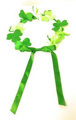 St. Patrick's Day Irish Green Shamrock Flower Crown Clover Headband Ribbon