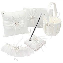 OurWarm 1 Wedding Guest Book + 1 Pen Set + 1 Flower Basket + 1 Ring Bearer Pillow + 1 Garter Ivo ...