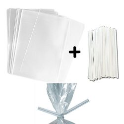 100 LARGER Treat Bags and White Paper Twist Ties – (5.75×7.75″) Clear Food Safe ...