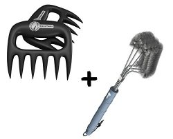 Meat Claws + BBQ Grill Brush – ONLY 100% RUST PROOF DESIGN – Stainless Steel Wire Br ...